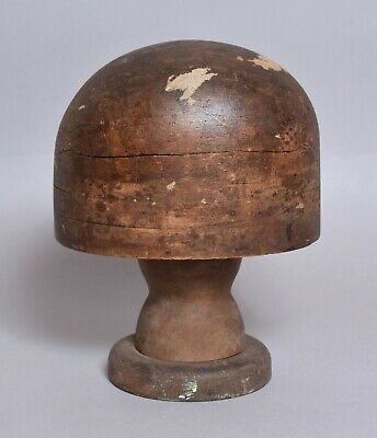 A Lovely Early Treen Wooden Milliners Hat Mould With Stand