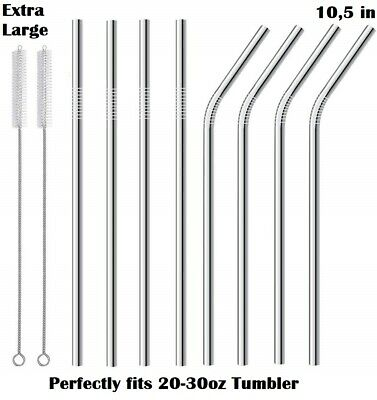 Long Reusable Stainless Steel Metal Drinking Straws for 30 Oz Yeti Rtic Tumbler