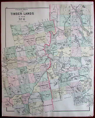 Timber Lands Maine around Moosehead Lake 1888 Colby detailed map