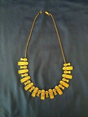 """""""INCA"""" Pre Colombian Replica Gold Plated Choker Necklace From Bogota Colombia"""