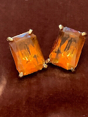"""Vintage """"GLAM"""" Pre-1955 Amber color clip on earrings Big and Bold !!"""