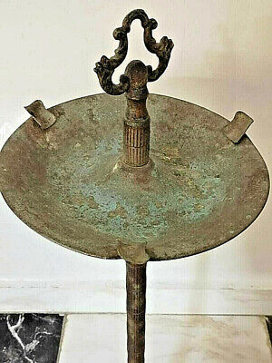 Antique Ancient Byzantine Bronze Candlestick Incredible Huge Tobacco Rare Vintag