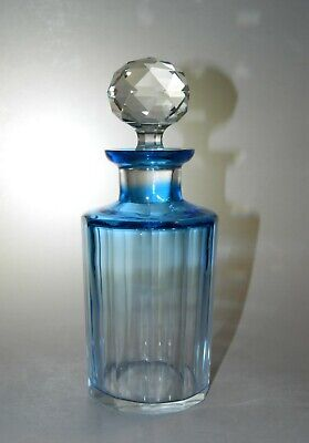 Antique Cut BLUE Fade to Clear Crystal COLOGNE Bottle, Faceted Stopper, Numbered