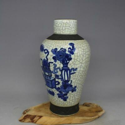 Chinese ancient antique hand make Blue and white Bogu Flowers and plants pattern