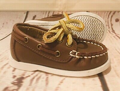 Janie & Jack Boy's Boat Leather Shoes Loafers Brown Tie Size 4 Toddler Baby EUC