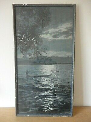 AN OLD CHINESE SILK PICTURE OF BOAT ON LAKE 80x43cm