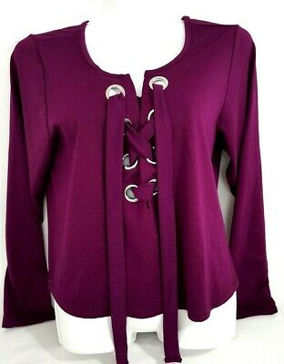 Rue 21 Womens Top Stretch Popover Grommet Lace Up Long Sleeve Purple Size 2x