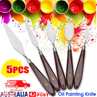 5Pcs Stainless Steel Artist Oil Painting Palette Knife Spatula Paint Tools NEW