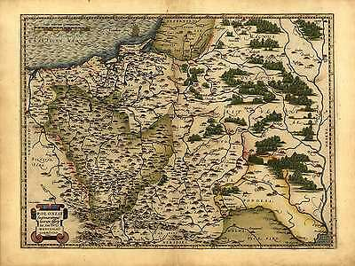 Abraham Ortelius Reproduction Vintage Antique Ancien Carte Pologne Lituanie
