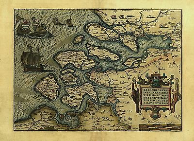 Reproduction Abraham Ortelius Zelandia Pays-Bas Holland Carte Ancienne Affiche