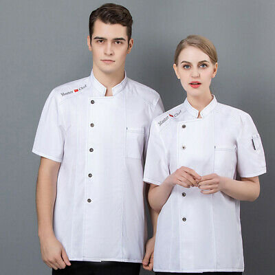 Summer Short Sleeve Breathable Unisex Chef Buttons Cook Shirt Restaurant Baker