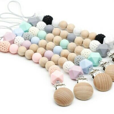Beech Pacifier Clips Silicone Crochet Wood Beads Soother Chain Baby Teething Toy