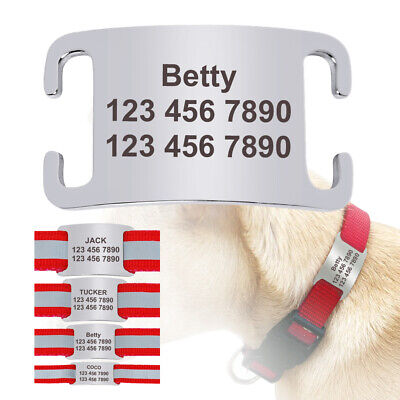 "Personalised Dog Slide On Tags No Noise Name Tags for 1/4""-1.0"" Collars Silencer"