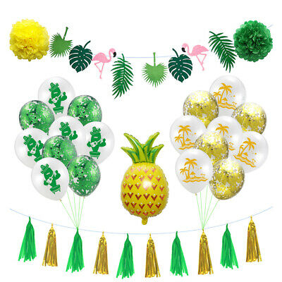 Party Supply Set Hawaiian Balloon Tropical Flamingo Pineapple Banner Garland