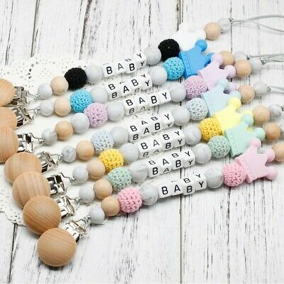 Handmade Personalized Name Wooden Baby Dummy Pacifier Clip Crown Silicone Chain