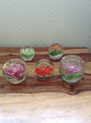 Job Lot Of 5 Beautiful Glass Paperweights Flowers Bubbles In Excellent Condition