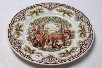 The Victorian English Pottery Fox Woodland Harvest Dinner Plates - S/2
