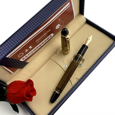 Wing Sung 699 Vaccum Filling Fountain Pen 14K Gold Nib Brown Translucent Resin