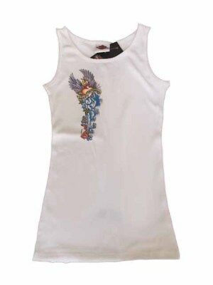"Harley-Davidson Little Girls White ribbed tank top shirt ""Banner Trail"" XS 2-4"