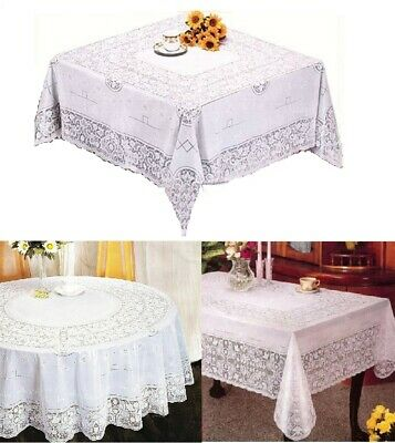 Elegant 100% Embossed White Plastic Lace Tablecloth Decorative DiningTable Cover