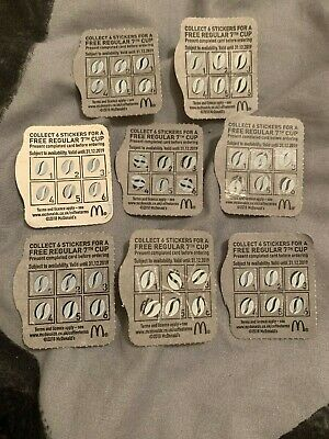 8 McDonalds hot drinks coffee completed stickers loyalty reward cards vouchers