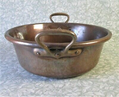 ANTIQUE French Thick Heavy 3kg COPPER JAM PAN 6.9lbs Cook Pot Bowl BRASS HANDLE
