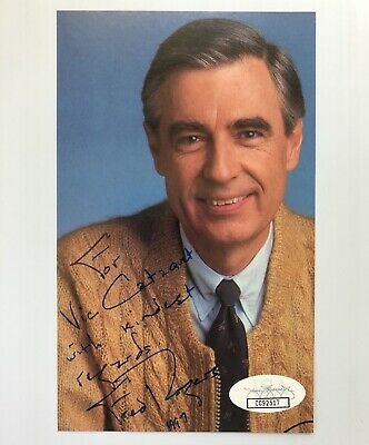 Fred Rogers Mr Mister Rogers Signed Autograph 3x5.5 Photo JSA FREE PRIORITY S&H