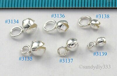 STERLING SILVER PLAIN ROUND BEAD CRIMP COVER CAP  ~~ Many Size ~ 3mm / 4mm / 5mm