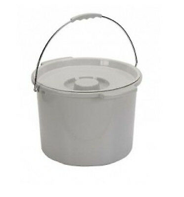 Large Capacity Replacement Commode Bucket w/ Lid & Metal Handle 12 Quart