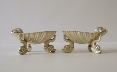 Pair Of Victorian Sterling Silver Clam Shell Salts With Dolphin Legs London 1864
