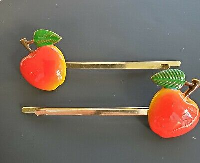 Vintage Hair Pins - Hand Painted Pair of Large Red Apple Bobby Pin