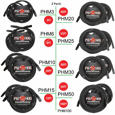 2PACK Pig Hog PHM3/6/10/15/20/25/30/50 High Performance 8mm XLR Microphone Cable