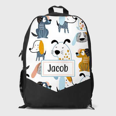 Personalised Cute Puppy Dogs Boys Girls Kids Children's School Bag Backpack