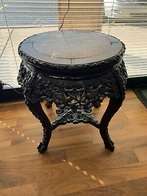 "Carved Asian Table Wood Flowers/Birds 19"" Tall Marble Top"
