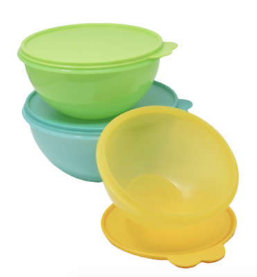 Tupperware Wonderlier Mixing Bowls Set of 3 Yellow, Lime, & Teal Green Rare New