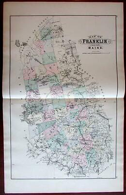 Franklin County Maine 1888 Colby large detailed hand colored map