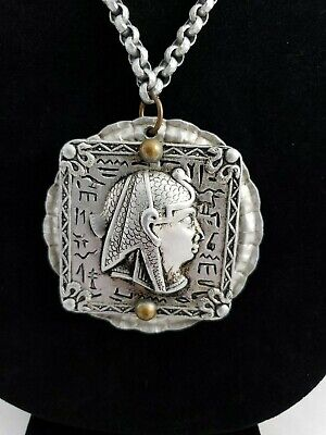 Vintage Tin Egyptian Petroglyphs Pendant Necklace Unusual Egypt Face Silver Tone