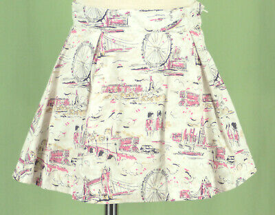 519 Janie and Jack girl white with London print skirt EUC 2
