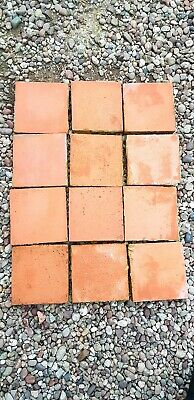 "Antique Victorian Floor Quarry Tile 'Red' 6""x6""x 1"" reclaimed"
