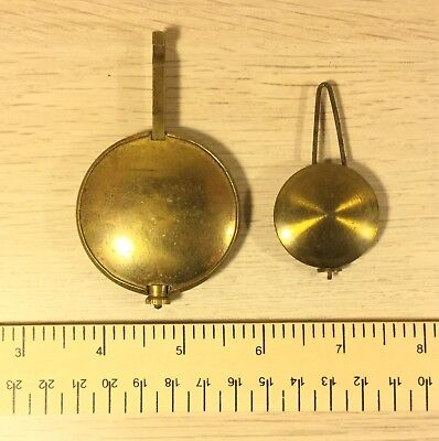 Antique Lead Clock Pendulum Bob Brass Covered   Qty 2                   (MJ367)