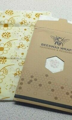 2 x BEESWAX FOOD WRAPS IN VARIOUS SIZES