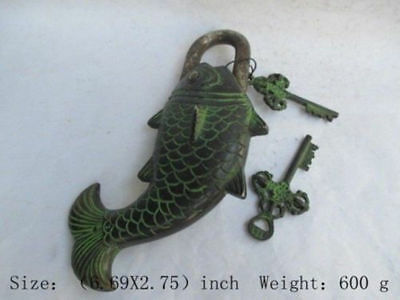 Rare Chinese old Brass Carved Fish Statue padlock lock and key