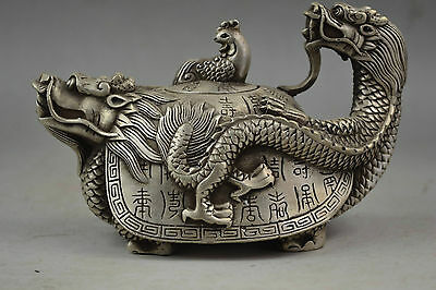 Collectible China Old Handwork Tibet Silver Carved Dragon Tortoise Tea Pot