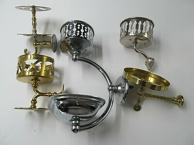 Lot  5  Vintage  Brass Bathroom Fixtures Toothbrush Glass  Soap Holder