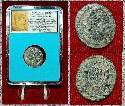 Ancient Roman Empire Coin Of MAGNENTIUS Two Victories Holding Wreath