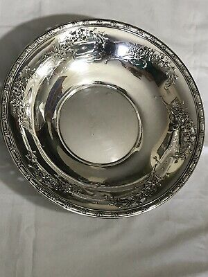 Sterling Wallace Serving Bowl/ Basket Rare Work 6 Floral Bouquets Hand Pierced