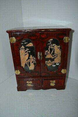 Asian Oriental Chinese Cork Trinket Jewelry Music Box Lacquer