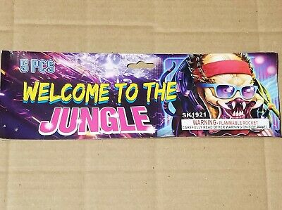 """Welcome To The Jungle LOUD 2 1/4"""" Salute Rocket Firecracker Label Box 5 Pc"""