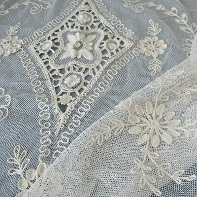 "Vintage French TAMBOUR LACE Bed Cover 95"" X 76"" Embroidered FLOWERS + Openwork"