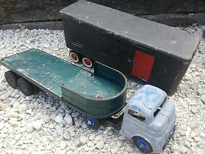 Vintage 1950's Structo Farm Truck - Cab and Trailers X2 Transport Pressed Steel